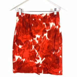 J. Crew The Pencil Skirt Red Watercolor Floral